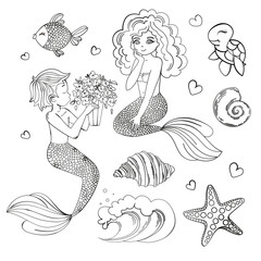 MERMAIDS MONOCHROME Cartoon Travel Tropical Vector Illustration Set for Print, Fabric and Decoration.