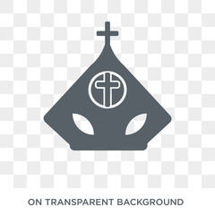 Pope icon. Trendy flat vector Pope icon on transparent background from Religion collection. High quality filled Pope symbol use for web and mobile
