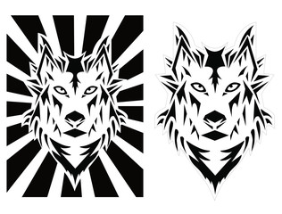 Wolf Geometrical Vector Black and White Illustration