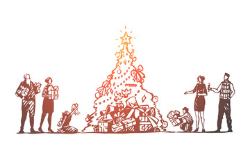 Christmas, big family, tree, celebration, happy concept. Hand drawn isolated vector.