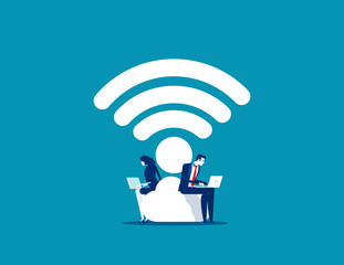 Business couple and working. Concept business vector, Wifi, Portable, Technology.