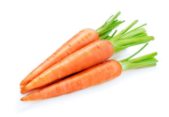 pile of ripe carrots isolated on white background