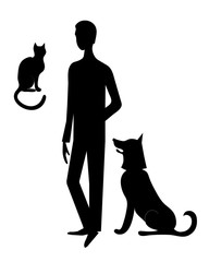 Cat, dog and man vector silhouettes.