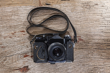 camera, wood, background, wooden, vintage, old, top view, copy space, retro, photography,