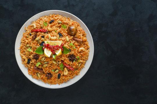 Vegetarian Hyderabadi Dum Biryani. Ramadan food.
