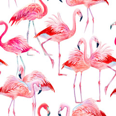 Canvas Prints Watercolor seamless pattern pink flamingos illustration.