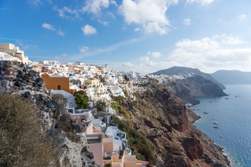 View over the city of Oia on the island of Santorini. Greece
