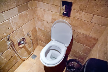 Toilet flush in the bathroom . White ceramics toilet bowl in the restroom . Flush toilet seat in the restroom . Toilet and handrail for elderly people at the toilet room in hospital, medical concept .