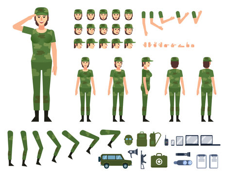 Female soldier in military clothing creation kit. Create your own pose, action, animation. Various emotions, gestures, design elements. Flat design vector illustration