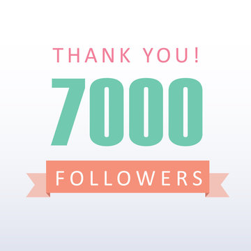 7000 followers Thank you number with banner- social media gratitude
