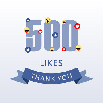 500 Likes Thank you number with emoji and heart- social media gratitude ecard