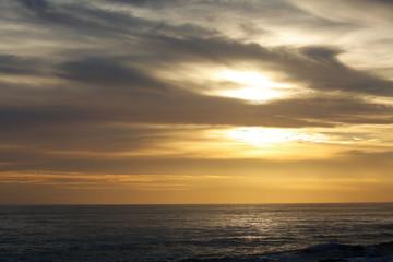 grey sky over ocean