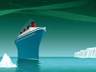 Retro cruise ship in the arctic ocean