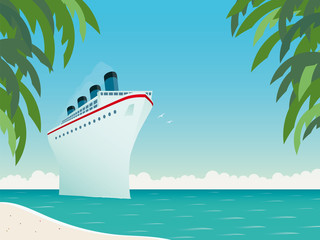 Vintage Cruise Ship in the Caribbean Sea