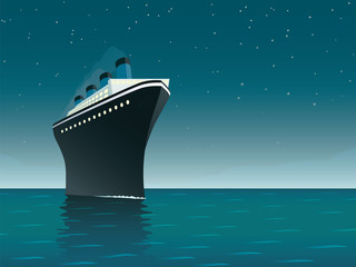 Vintage Cruise Ship on the Ocean at night