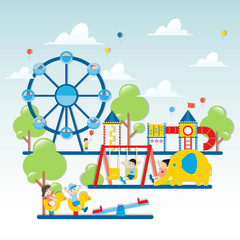 Colorful playground. Kids playground with playing equipment. - Vector