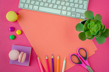 Beautiful bright pink background and stationery for drawing, take notes. For students and schoolchildren. Big plan, view from above.