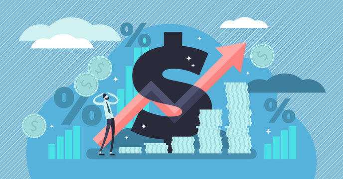 Inflation vector illustration. Tiny persons concept with basic economy term