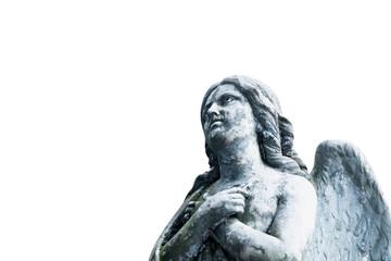 Vintage image of a sad angel isolated on white background. Religion, faith, death, resurrection, eternity concept.