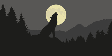 wolf howls at full moon in a forest silhouette vector illustration EPS10