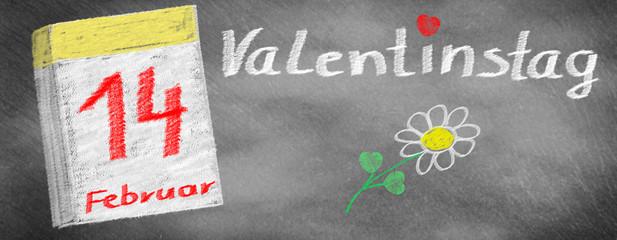 Valentine's Day -14. February, calendar and flower, drawn on slate blackboard