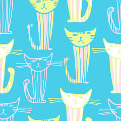 vector seamless design with cats