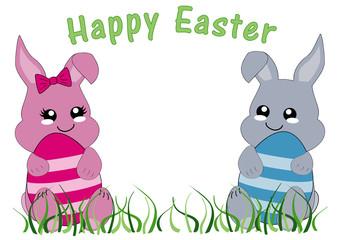 Kawaii Osterkarte mit Hasenmädchen, Hasenjungen und dem Text frohe Ostern. Vektor Datei EPS 10
