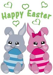 Kawaii Osterkarte mit niedlichem Hasenpärchen und dem Text frohe Ostern. Vektor Datei EPS 10