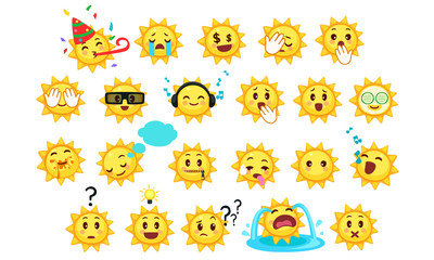 Collection of difference emoticon icon of cute sun cartoon on white background vector illustration part 4