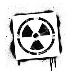 Stencil radioactive sign. Radiation hazard. Black graffiti print on white background. Vector design street art