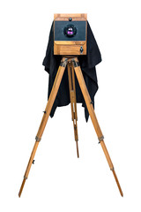 old wooden camera on a tripod isolated on white background