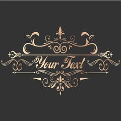 Vintage decorative golden frame for text. Vector logo for illustrator