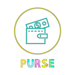 Wall Mural - Purse vector illustration in linear outline style
