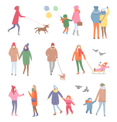 Set of Walking People in Winter Vector Isolated