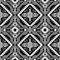 Black and white Aztec geometric seamless pattern. Native American, Indian Southwest print. Ethnic design wallpaper, fabric, cover, textile, wrapping.