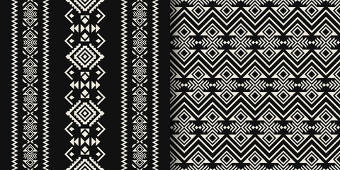 Black and white Aztec geometric seamless patterns. Native American, Indian Southwest print. Tribal Kilim. Ethnic design wallpaper, fabric, cover, textile, wrapping, rug.
