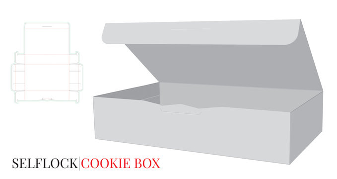 Self Lock Box with Die lines. Vector with die cut / laser cut layers. Cut and fold. Cookies Box Illustration. White, clear, blank, isolated Paper Box Illustration on white background. Packaging Design