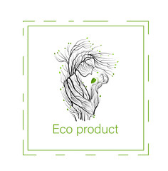 eco product concept, man like tree holding green leaf sprout, green product eco care idea,