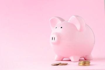 Pink ceramic piggy bank over matching pink
