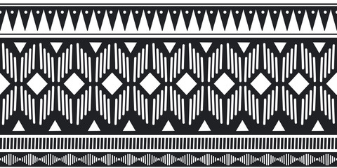 Ethnic seamless pattern black and white colors with geometric symbol ancient drawing background for fashion textile print vector illustration.