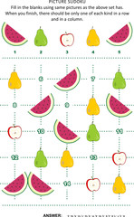 Picture sudoku puzzle 5x5 (one block) with fruits and berries - watermelon slices, red apples, green and yellow pears. Answer included.