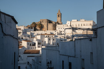 View of the old quarter of Vejer de la Frontera and the church of the Divino Salvador