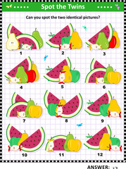 Fruit and berry IQ training picture puzzle: Can you spot the two identical pictures? Answer included.