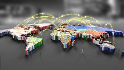 Connection lines Around map with all country flags, Futuristic Technology Theme Background with Light Effect.Global International Connectivity Background.3d illustration