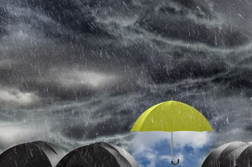 Umbrella clean the Rainy sky, concept of protection and security