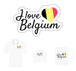 I love Belgium Logo, Heart Flag, T-shirt Design, Hat Design, Cup Design. Vector with die cut layers. Isolated Logo on white background