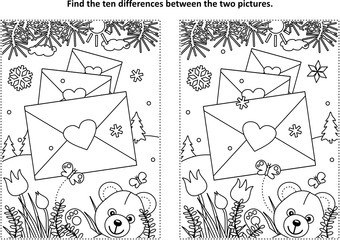 Valentine's Day find the ten differences picture puzzle and coloring page with teddy bear, envelopes with heart seals