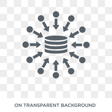 data aggregation icon. Trendy flat vector data aggregation icon on transparent background from general  collection. High quality filled data aggregation symbol use for web and mobile
