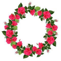 bright wreath of red roses isolated on white background