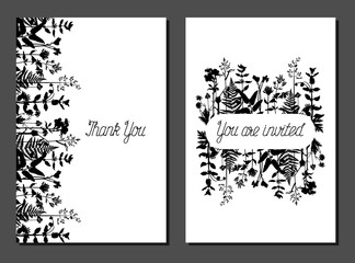 Set of different postcards with wild grass. Collection with floral paper labels for announcements. Rectangular shapes. Template for design, greeting cards, invitations and decoration. Cards with fern.